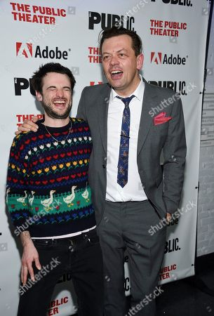 """Tom Sturridge, Simon Stephens. Actor Tom Sturridge, left, and playwright Simon Stephens pose together at the """"Sea Wall / A Life"""" opening night at The Public Theater, in New York"""