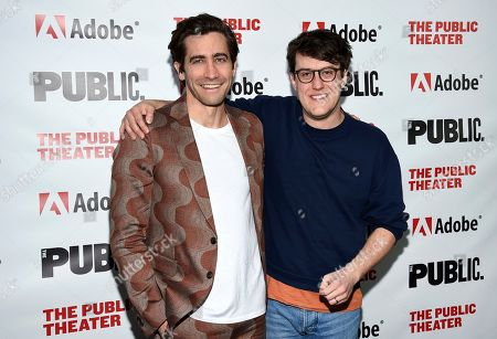 """Jake Gyllenhaal, Nick Payne. Actor Jake Gyllenhaal, left, and playwright Nick Payne pose together at the """"Sea Wall / A Life"""" opening night at The Public Theater, in New York"""