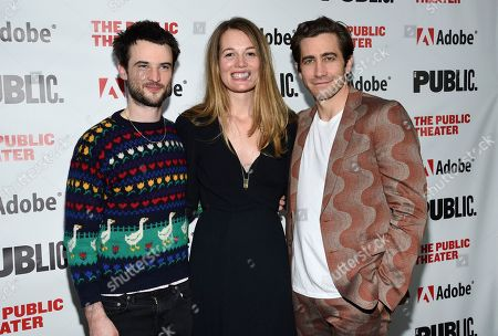 "Tom Sturridge, Carrie Cracknell, Jake Gyllenhaal. Actors Tom Sturridge, left, and Jake Gyllenhaal pose with director Carrie Cracknell at the ""Sea Wall / A Life"" opening night at The Public Theater, in New York"