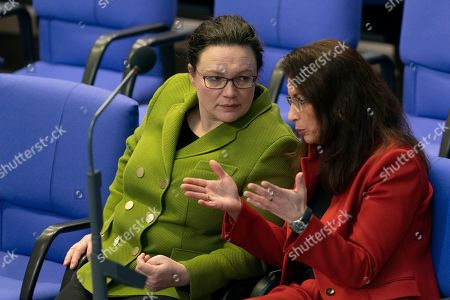 Stock Image of Andrea Nahles (L), parliamentary group leader of the Social Democratic Party (SPD) and SPD party member Yasmin Fahimi (R) talk during the German parliament Bundestag in Berlin, Germany, 15 February 2019. The German parliament Bundestag gathered for its 81 session of the 19th legislative period.