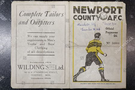 Stock Picture of A match programme for a 1946 game between Newport County and Manchester City owned by 89 year old David Sims in Newport