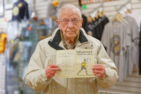 Stock Photo of A match programme for a 1946 game between Newport County and Manchester City owned by 89 year old David Sims in Newport