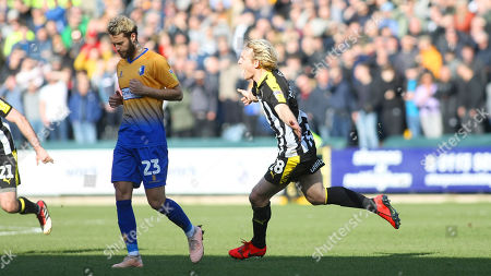Ex-Notts player Jorge Grant can only look down as Craig Mackail-Smith puts Notts ahead
