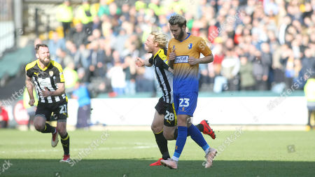 Jorge Grant can only look down as Craig Mackail-Smith celebrates giving Notts County the lead