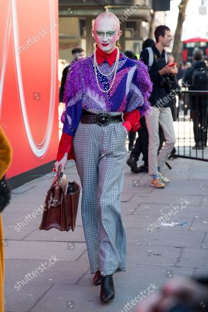 Editorial picture of Street style, Fall Winter 2019, London Fashion Week, UK - 15 Feb 2019