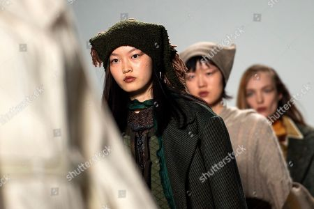 Models present creations by British designer A Sai Ta for his label Asai during London Fashion Week 2019, in Central London, Britain, 15 February 2019. The LFW Fall/Winter 2019 runs from 15 to 19 February.