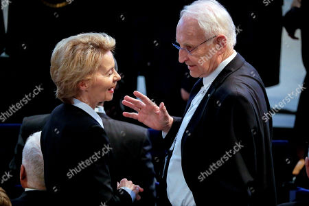 German Defense Minister Ursula von der Leyen (L) and former Bavarian Prime Minister Edmund Stoiber attend the 55th Munich Security Conference (MSC) in Munich, Germany, 15 February 2019. From 15 to 17 February, politicians, various experts and guests from all over the world will discuss global security issues in their annual meeting.