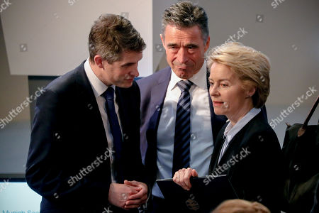 Stock Picture of (L-R) Britain's Secretary of State for Defence Gavin Williamson, former Danish Prime Minister and Secretary General  of the North Atlantic Treaty Organization (NATO), Anders Fogh Rasmussen, and German Defense Minister Ursula von der Leyen attend the 55th Munich Security Conference (MSC) in Munich, Germany, 15 February 2019. From 15 to 17 February, politicians, various experts and guests from all over the world will discuss global security issues in their annual meeting.