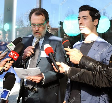 The Varese hospital Health director, Lorenzo Maggioli (L), flanked by Renzo Bossi (R), the son of Umberto Bossi, addresses the media in Varese, northern Italy, 15 February 2019. Umberto Bossi is stable and reactive, said Maggioli. Northern League founder Umberto Bossi had been rushed by helicopter to the ER in Varese on 14 February. He was placed in intensive care and sedated after fainting and banging his head at home in nearby Gemonio.