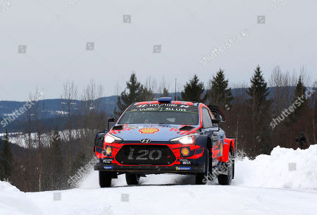 Sebastien Loeb and Daniel Elena of France in their Hyundai i20 Coupe WRC during day 2 of the second round of the FIA World Rally Championship, Rally Sweden 2019, in Karlstad, Sweden, 15 February 2019.