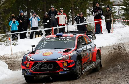 Sebastien Loeb of France stears his Hyundai i20 Coupe WRC during day 2 of the second round of the FIA World Rally Championship, Rally Sweden 2019, in Karlstad, Sweden, 15 February 2019.