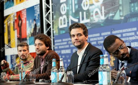 Stock Image of Bruno Gagliasso, Humberto Carrao, director Wagner Moura and Seu Jorge attend the press conference of 'Marighella' during the 69th annual Berlin Film Festival, in Berlin, Germany, 15 February 2019. The movie is presented in the Official Competition at the Berlinale that runs from 07 to 17 February.