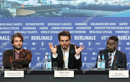 Humberto Carrao, director Wagner Moura and Seu Jorge attend the press conference of 'Marighella' during the 69th annual Berlin Film Festival, in Berlin, Germany, 15 February 2019. The movie is presented in the Official Competition at the Berlinale that runs from 07 to 17 February.