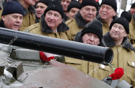 Stock Photo of The veterans of Afghan war attend a ceremony marking the 30th anniversary of the Soviet pullout from Afghanistan, Moscow, Russia, 15 February 2019. Thirty years ago last Soviet troops under the command of General Boris Gromov crossed the Amu Darya river separating Afghanistan from Uzbekistan.