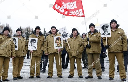 Stock Picture of The veterans of Afghan war attend a ceremony marking the 30th anniversary of the Soviet pullout from Afghanistan, Moscow, Russia, 15 February 2019. Thirty years ago last Soviet troops under the command of General Boris Gromov crossed the Amu Darya river separating Afghanistan from Uzbekistan.