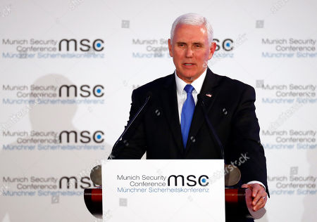 United States Vice President Mike Pence delivers his speech during the John McCain Dissertation Award Ceremony at the Bavarian State Parliament in Munich, Germany, . Pence arrived Thursday to attend the Munich Security Conference