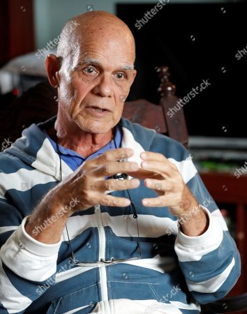 Stock Image of Cuban journalist and writer Pedro Juan Gutierrez talks about his work 'Dirty trilogy of Havana' in his house, in Havana, Cuba, 15 February 2019. Two decades after its publication in Spain, the books have been published in Cuba.