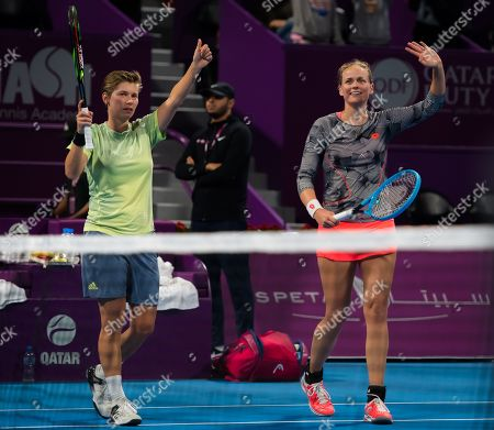 Demi Schuurs of the Netherlands & Anna-Lena Groenefeld of Germany in action during their doubles semi-final at the 2019 Qatar Total Open WTA Premier tennis tournament