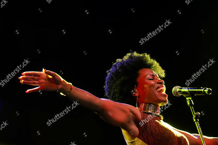 A singer from Cabo Verde, Lura, performs on stage during the World of Music, Arts and Dance (WOMAD) festival in Santiago, Chile, 15 February 2019 (issued 16 February 2019). WOMAD first started in 1982, and celebrates music, dance and the traditions of artists from all continents across the world.