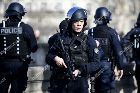 A French Riot Police Officer Holds LDB 40 Flashball Non Lethal Rubber