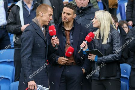 Steven Sidwell Jermaine Jenas and Lynsey Hipgrave from BT sport during the The FA Cup 5th round match between Brighton and Hove Albion and Derby County at the American Express Community Stadium, Brighton and Hove