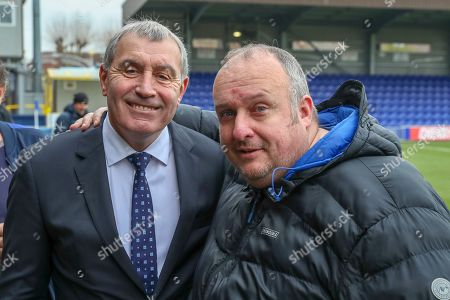 AFC Wimbledon fan with Peter Shilton during the The FA Cup 5th round match between AFC Wimbledon and Millwall at the Cherry Red Records Stadium, Kingston