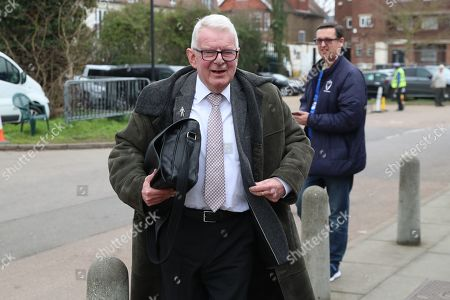 John Motson arriving during the The FA Cup 5th round match between AFC Wimbledon and Millwall at the Cherry Red Records Stadium, Kingston