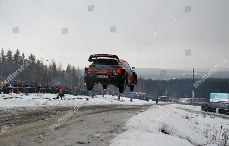 Sebastien Loeb of France drives his Hyundai i20 Coupe WRC during day 3 of the Rally Sweden 2019, Sweden, 16 February 2019.