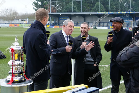 Peter Shilton jokes with Martin Keown ahead of  AFC Wimbledon vs Millwall, Emirates FA Cup Football at the Cherry Red Records Stadium on 16th February 2019