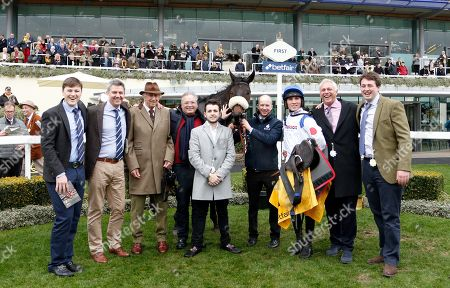 CLAN DES OBEAUX (Harry Cobden) with Ged Mason and Paul Barber and family after The Betfair Denman Chase Ascot