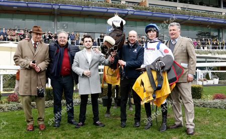 CLAN DES OBEAUX (Harry Cobden) with Paul Nicholls, Ged Mason and Paul Barber after The Betfair Denman Chase Ascot