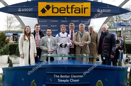 Presentation to Ged Mason, Paul Barber, Paul Nicholls and Harry Cobden for The Betfair Denman Chaase won by CLAN DES OBEAUX Ascot