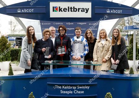 Presentation to Lady Bolton, Venetia Williams and Charlie Deutsch for The Keltbray Swinley Chase won by CALIPTO Ascot