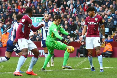 Aston Villa goalkeeper Lovre Kalinic (28) drops the ball during the EFL Sky Bet Championship match between Aston Villa and West Bromwich Albion at Villa Park, Birmingham