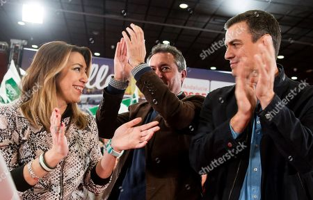 Spanish Prime Minister, Pedro Sanchez (R), and former regional president of Andalusia Susana Diaz (L) attend a socialist rally campaign held, 16 February 2019, to present their Mayor candidate for Seville, Juan Espadas (C), in eville, Spain. Municipal and regional elections in Spain will be held coinciding with the European elections 26 May 2019.