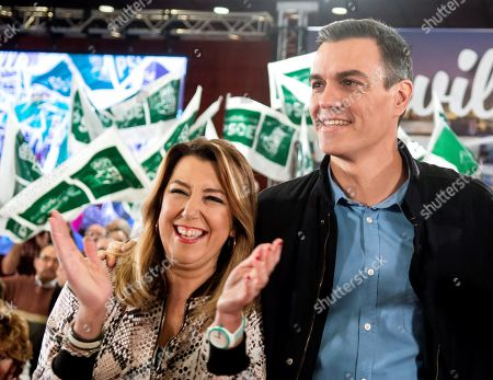 Stock Photo of Spanish Prime Minister, Pedro Sanchez (R), and former regional president of Andalusia Susana Diaz (L) attend a socialist rally campaign held, 16 February 2019, to present their Mayor candidate for Seville, Juan Espadas, in Seville, Spain. Municipal and regional elections in Spain will be held coinciding with the European elections 26 May 2019.