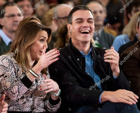 Stock Picture of Spanish Prime Minister, Pedro Sanchez (R), laughs next to former regional president of Andalusia Susana Diaz (L) during a socialist rally campaign held, 16 February 2019, to present their Mayor candidate for Seville, Juan Espadas, in Seville, Spain. Municipal and regional elections in Spain will be held coinciding with the European elections 26 May 2019.