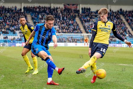 Gillingham FC defender Luke O'Neill (2) and Scunthorpe United defender Tom Pearce  (16) during the EFL Sky Bet League 1 match between Gillingham and Scunthorpe United at the MEMS Priestfield Stadium, Gillingham