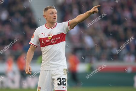 Stuttgart's Andreas Beck reacts in the German Bundesliga soccer match between VfB Stuttgart and RB Leipzig in Stuttgart, Germany, 16 February 2019. CONDITIONS - ATTENTION: The DFL regulations prohibit any use of photographs as image sequences and/or quasi-video.