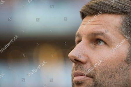 Stuttgart's director of sports Thomas Hitzlsperger is seen prior to the German Bundesliga soccer match between VfB Stuttgart and RB Leipzig in Stuttgart, Germany, 16 February 2019.
