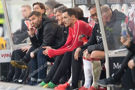 Stuttgart's director of sports Thomas Hitzlsperger (2-L) reacts during the German Bundesliga soccer match between VfB Stuttgart and RB Leipzig in Stuttgart, Germany, 16 February 2019.