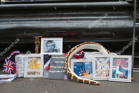 Tributes to Graham Chapman at the Eros statue in Piccadilly Circus