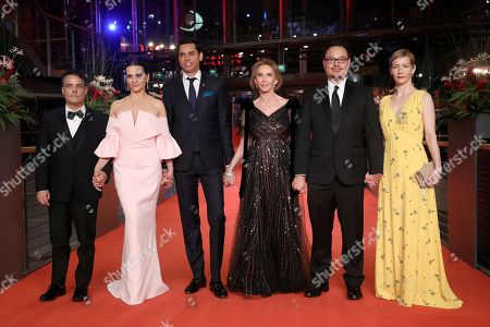 Sebastian Lelio,Juliette Binoche, Rajendra Roy,Trudie Styler, Justin Chang and Sandra Hueller arrive at the Closing and Awards Ceremony during the 69th annual Berlin Film Festival, in Berlin, Germany, 16 February 2019. The Berlinale that runs from 07 to 17 February.