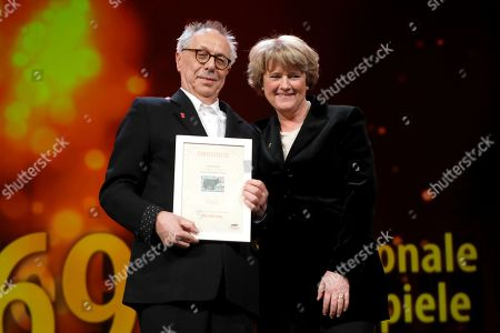 Monika Gruetters and Festival director Dieter Kosslick during the Closing and Awards Ceremony during the 69th annual Berlin Film Festival, in Berlin, Germany, 16 February 2019. The Berlinale that runs from 07 to 17 February.