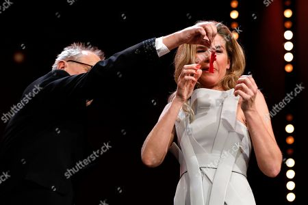 Anke Engelke and Festival director Dieter Kosslick during the Closing and Awards Ceremony during the 69th annual Berlin Film Festival, in Berlin, Germany, 16 February 2019. The Berlinale that runs from 07 to 17 February.