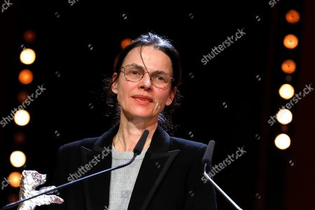 Stock Image of Angela Schanelec receives the Silver Bear for Best Director for 'I Was at Home, But' at the closing and award ceremony of the 69th annual Berlin International Film Festival, in Berlin, Germany, 16 February 2019. The Berlinale runs from 07 to 17 February.