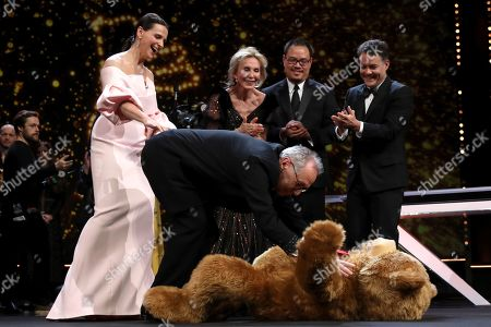 Festival director Dieter Kosslick with Juliette Binoche share a light moment during the Closing and Awards Ceremony during the 69th annual Berlin Film Festival, in Berlin, Germany, 16 February 2019. The Berlinale that runs from 07 to 17 February.