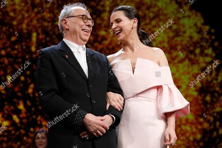 Festival director Dieter Kosslick with Juliette Binoche during the Closing and Awards Ceremony during the 69th annual Berlin Film Festival, in Berlin, Germany, 16 February 2019. The Berlinale that runs from 07 to 17 February.