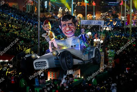 A float of French actor Jean-Paul Belmondo makes its way through the crowd during the 135th annual Carnival parade in Nice, France, 16 February 2019. The annual Carnival of Nice will run from 16 February to 02 March with the main theme being 'King of Cinema'.