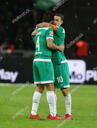 Claudio Pizarro 1:1, Max Kruse    celebration   1:1 Ausgleich    / Sport / Football / DFL Bundesliga  /  2018/2019 / 16.02.2019 / Hertha BSC Berlin vs. SV Werder Bremen SVW / DFL regulations prohibit any use of photographs as image sequences and/or quasi-video. /
